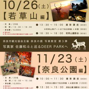 10/26・ 11/23 奈良市観光協会主催 大人気【 秋 の 鹿  撮 影 会 の お 知 ら せ 】