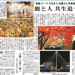 12月1日(日)毎日新聞(朝刊)にて、「鹿と人 共生追う 」の記事にてカラーページにて掲載していただきました。